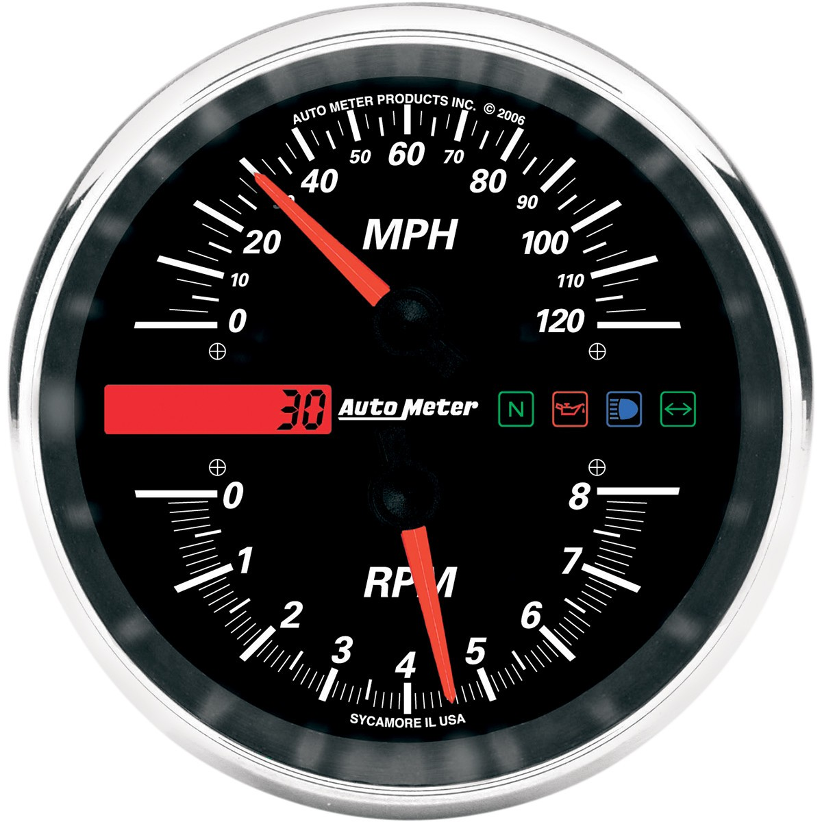 Electronic Speedometer Gauges : Auto meter electronic mph speedometer tachometer drop in